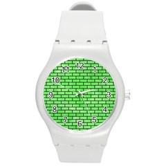 Brick1 Black Marble & Green Watercolor (r) Round Plastic Sport Watch (m) by trendistuff