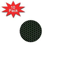 Brick2 Black Marble & Green Watercolor 1  Mini Buttons (10 Pack)  by trendistuff