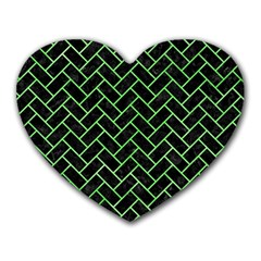 Brick2 Black Marble & Green Watercolor Heart Mousepads by trendistuff