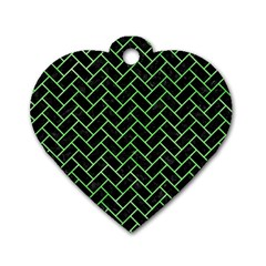 Brick2 Black Marble & Green Watercolor Dog Tag Heart (one Side) by trendistuff