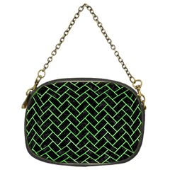 Brick2 Black Marble & Green Watercolor Chain Purses (two Sides)  by trendistuff