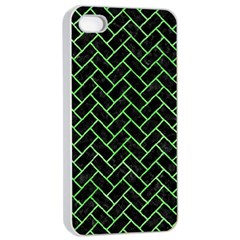 Brick2 Black Marble & Green Watercolor Apple Iphone 4/4s Seamless Case (white) by trendistuff