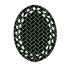 Brick2 Black Marble & Green Watercolor Oval Filigree Ornament (two Sides) by trendistuff