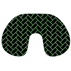 Brick2 Black Marble & Green Watercolor Travel Neck Pillows by trendistuff