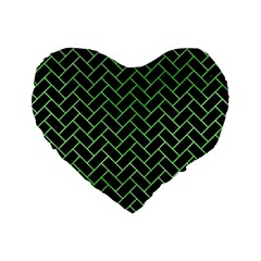 Brick2 Black Marble & Green Watercolor Standard 16  Premium Flano Heart Shape Cushions by trendistuff