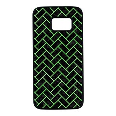Brick2 Black Marble & Green Watercolor Samsung Galaxy S7 Black Seamless Case by trendistuff