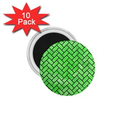 Brick2 Black Marble & Green Watercolor (r) 1 75  Magnets (10 Pack)  by trendistuff