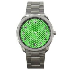 Brick2 Black Marble & Green Watercolor (r) Sport Metal Watch by trendistuff