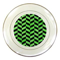 Chevron1 Black Marble & Green Watercolor Porcelain Plates by trendistuff
