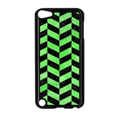 Chevron1 Black Marble & Green Watercolor Apple Ipod Touch 5 Case (black) by trendistuff