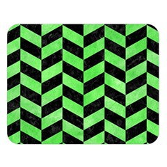 Chevron1 Black Marble & Green Watercolor Double Sided Flano Blanket (large)  by trendistuff