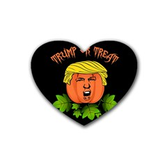 Trump Or Treat  Rubber Coaster (heart)  by Valentinaart