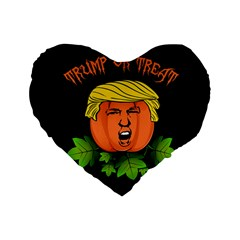Trump Or Treat  Standard 16  Premium Flano Heart Shape Cushions by Valentinaart