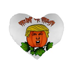 Trump Or Treat  Standard 16  Premium Heart Shape Cushions by Valentinaart