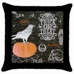 Vintage Halloween Throw Pillow Case (black) by Valentinaart
