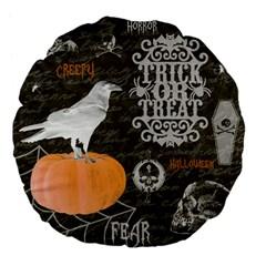 Vintage Halloween Large 18  Premium Flano Round Cushions by Valentinaart