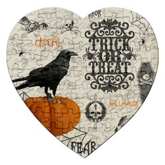 Vintage Halloween Jigsaw Puzzle (heart) by Valentinaart