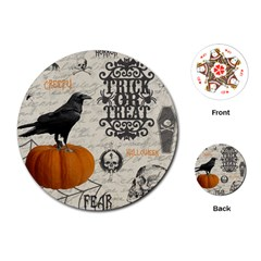 Vintage Halloween Playing Cards (round)  by Valentinaart