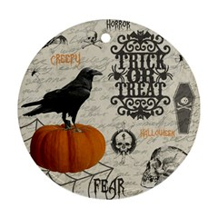 Vintage Halloween Round Ornament (two Sides) by Valentinaart