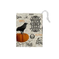 Vintage Halloween Drawstring Pouches (small)  by Valentinaart