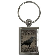 Vintage Halloween Raven Key Chains (rectangle)  by Valentinaart