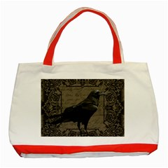 Vintage Halloween Raven Classic Tote Bag (red) by Valentinaart