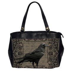 Vintage Halloween Raven Office Handbags (2 Sides)  by Valentinaart