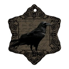Vintage Halloween Raven Snowflake Ornament (two Sides) by Valentinaart