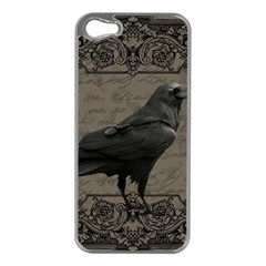Vintage Halloween Raven Apple Iphone 5 Case (silver) by Valentinaart