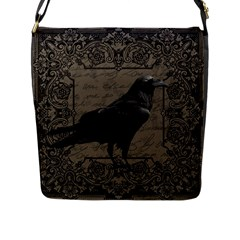 Vintage Halloween Raven Flap Messenger Bag (l)  by Valentinaart
