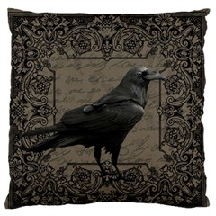 Vintage Halloween Raven Large Flano Cushion Case (one Side) by Valentinaart