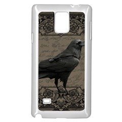 Vintage Halloween Raven Samsung Galaxy Note 4 Case (white) by Valentinaart