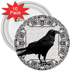 Vintage Halloween Raven 3  Buttons (10 Pack)  by Valentinaart