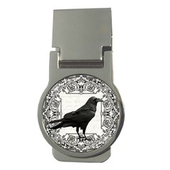 Vintage Halloween Raven Money Clips (round)  by Valentinaart