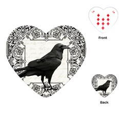 Vintage Halloween Raven Playing Cards (heart)  by Valentinaart