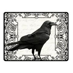Vintage Halloween Raven Fleece Blanket (small) by Valentinaart