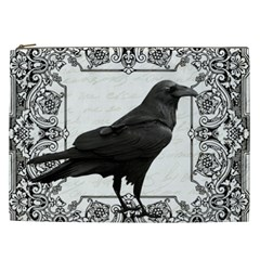 Vintage Halloween Raven Cosmetic Bag (xxl)  by Valentinaart