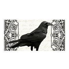 Vintage Halloween Raven Satin Wrap by Valentinaart