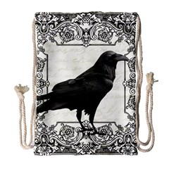 Vintage Halloween Raven Drawstring Bag (large) by Valentinaart