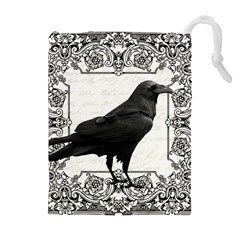 Vintage Halloween Raven Drawstring Pouches (extra Large) by Valentinaart