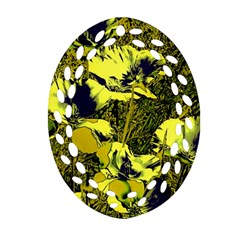 Amazing Glowing Flowers 2c Ornament (oval Filigree) by MoreColorsinLife