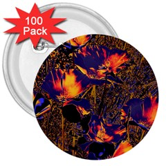 Amazing Glowing Flowers 2a 3  Buttons (100 Pack)  by MoreColorsinLife