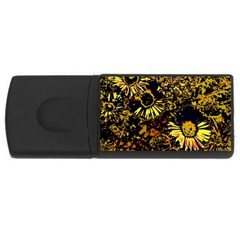 Amazing Neon Flowers B Rectangular Usb Flash Drive by MoreColorsinLife