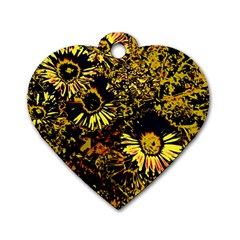 Amazing Neon Flowers B Dog Tag Heart (one Side) by MoreColorsinLife