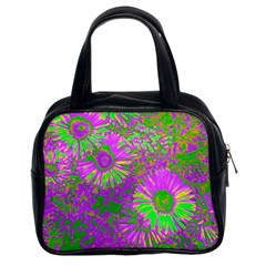 Amazing Neon Flowers A Classic Handbags (2 Sides) by MoreColorsinLife
