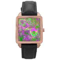Amazing Neon Flowers A Rose Gold Leather Watch  by MoreColorsinLife