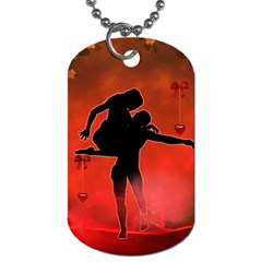 Dancing Couple On Red Background With Flowers And Hearts Dog Tag (one Side) by FantasyWorld7