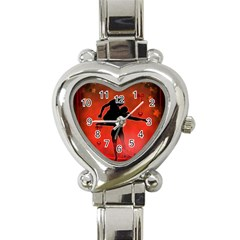 Dancing Couple On Red Background With Flowers And Hearts Heart Italian Charm Watch by FantasyWorld7