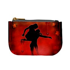 Dancing Couple On Red Background With Flowers And Hearts Mini Coin Purses by FantasyWorld7
