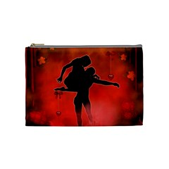 Dancing Couple On Red Background With Flowers And Hearts Cosmetic Bag (medium)